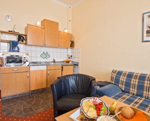 Ferienwohnung Onyx Küche 1 - Urlaubshotel Strandvilla Imperator im Seebad Bansin auf Usedom