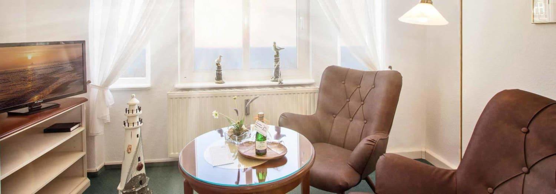 Doppelzimmer Komfort mit Veranda und Meerblick - Urlaubshotel Strandvilla Imperator im Seebad Bansin auf Usedom