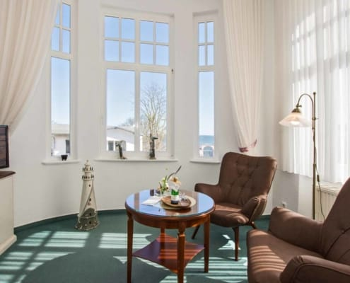 Doppelzimmer Komfort Veranda Meerblick - Urlaubshotel Strandvilla Imperator im Seebad Bansin auf Usedom