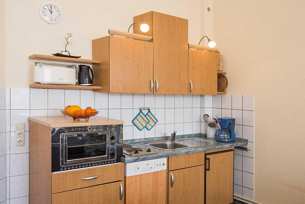 Ferienwohnung Onyx Doppelbett Küche